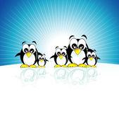 Penguins family — Stock Vector