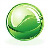 Green glossy sphere — Stock Vector