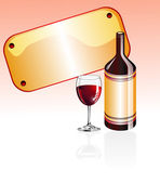 Wine Glass and bottle — Stock Vector