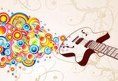 Retro guitar singing bubbles — Stock Vector