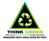 Denk groen en recycleren van flayer — Stockvector