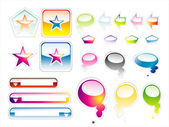 Collection of full colours web elements with glossy effect — Stock Vector