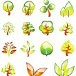 Environment Trees Glossy Icons — Stock Vector