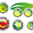 Royalty-Free Stock Vector Image: Environmetal car and bottle caps