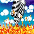 Vector Flaming microphone blue sky bubbles — Stock Vector