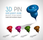 3d Style pin made wit a lot of shapes — Stock Vector