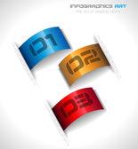 紙タグ付きインフォ グラフィック デザイン テンプレート — ストックベクタ