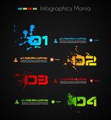 Infographic grunge design s papírové štítky. ideální k zobrazování informací, hodnocení a statistiky s originální a moderní styl. — Stock vektor