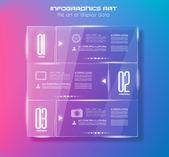 Infographic ontwerpsjabloon met glazen oppervlakken. — Stockvector