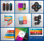 Infographic design templates collection with paper tags. — Stock Vector