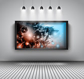 Modern interior art gallery frame design with spotlights. — Stock Vector