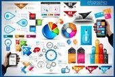 Infografía elementos - conjunto de etiquetas de papel — Vector de stock