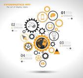 Plantilla de diseño infográfico con engranaje de cadena. — Vector de stock