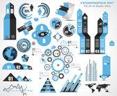 Infographic στοιχεία - συνόλου ετικετών χαρτί, — Διανυσματικό Αρχείο