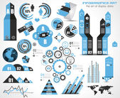 Infographic elementen - set van papieren etiketten, — Stockvector