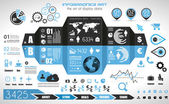 Infographic elements - set of paper tags, technology icons,... — Stock Vector