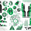 Vettoriale Stock : Infographic elements - set of paper tags, technology icons...