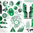 Infografía elementos - conjunto de etiquetas de papel, los iconos de la tecnología — Vector de stock