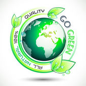 Ecology Green conceptual background with green related slogan — Stockvector