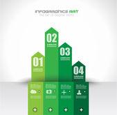 Modello struttura infografica con tag di carta — Vettoriale Stock