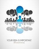 Comunicación en todo el mundo y arte conceptual de los medios sociales. — Vector de stock
