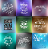 Merry Christmas Vintage retro typo backgrounds — Stock Vector