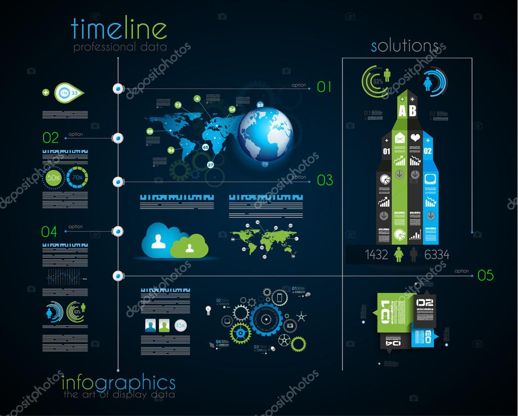 Timeline to display your data with Infographic elements — Stock ...