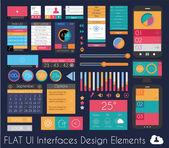 UI Flat Design Elements for Web, Infographics — Stock Vector