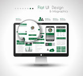 UI Flat Design Elements in a modern HD screen computer — Vector de stock