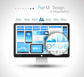UI Flat Design Elements for WUI Flat Design Elements for Web, Infographics — Stock Vector
