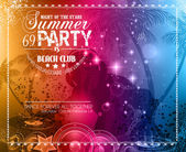 Summer Party Flyer for Music Club events — Stock Vector