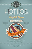 Vintage HOT DOG poster template for bistro — Stock Vector