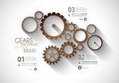 Infográfico timeline com conceito mecânico de engrenagens — Vetor de Stock