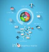 Infographic tasarım şablonu ile kağıt Etiketler. — Stok Vektör