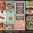 Retro Vintage Foods Labels collection. — Stock Vector