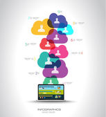 Social Media and Cloud concept Infographic — Stock Vector