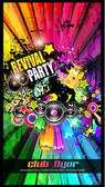 Party Club Flyer for Music event — Vector de stock