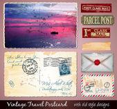 Travel Vintage Postcard Design — Stock Vector