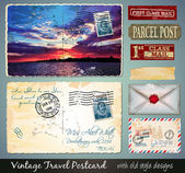 Travel Vintage Postcard Design with antique look  — Stock Vector