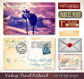 Travel Vintage Postcard Design — Stok Vektör