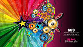 PArty Club Flyer for Music event with Explosion of colors — Wektor stockowy