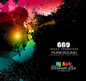 PArty Club Flyer for Music event with Explosion of colors — Vettoriale Stock