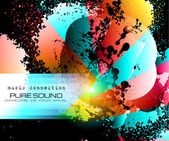 PArty Club Flyer for Music event with Explosion of colors — Stockvector