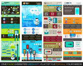 One page website flat UI design template SET 1. — Vector de stock