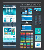 One page website flat UI UX design template — 图库矢量图片