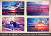 Set of 4 Stunning Vintage Postcard with old style — Vecteur