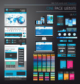 One page website flat UI UXdesign template. — 图库矢量图片