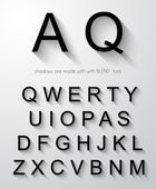Classic alphabet with modern long shadow effect. — Vector de stock