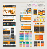 One page website flat UI UXdesign template. — Vector de stock
