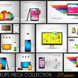 Collection of phone, pc and tablet mockups with infographics. — Stock Vector #51570967